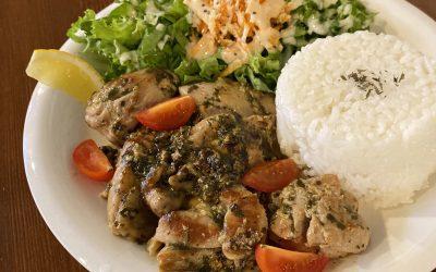 バジルソースチキンソテー • Basil Sauce Chicken Plate w Rice